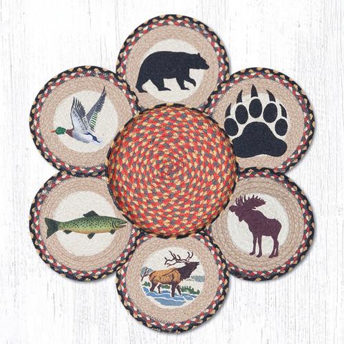 """Earth Rugs™ Braided Jute 10"""" Round Trivets In Basket Set: Wildlife"""