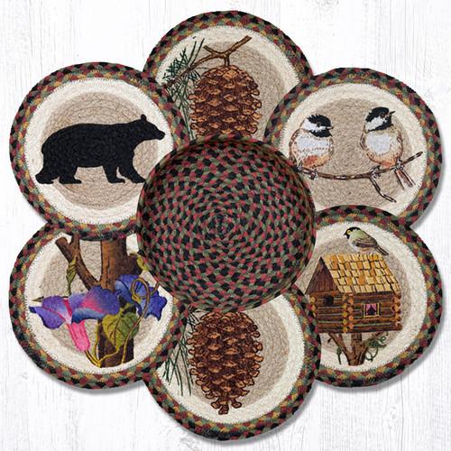 "Earth Rugs™ Braided Jute 10"" Round Trivets In Basket Set: Cabin Bear"