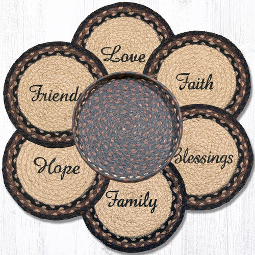 "Earth Rugs™ Braided Jute 10"" Round Trivets In Basket Set: Blessings, Faith, Hope, Love, Family, Friends"