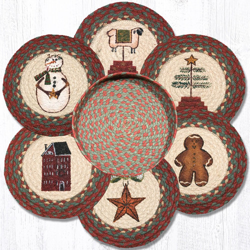 "Earth Rugs™ Braided Jute 10"" Round Trivets In Basket Set: Winter"