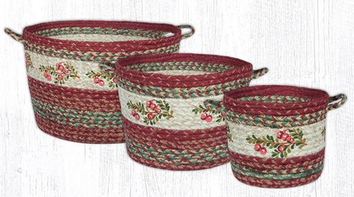 Earth Rugs™ Braided Jute Utility Basket: Cranberries