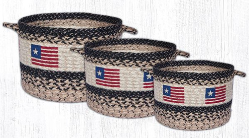 Earth Rugs™ Braided Jute Utility Basket: Original Flag