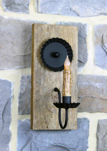 Rustic Barn Wood Candle Wall Sconce - Finished With Polyurethane - Pictured With Battery Candle Sold Separately