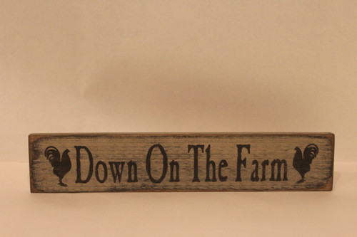 Wooden Sign - Down On The Farm - Cream