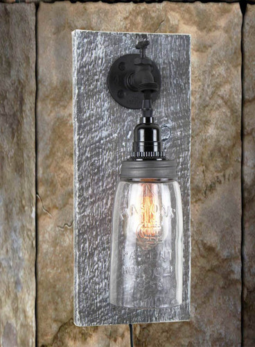 Rustic Barn Wood Electric Mason Jar Wall Sconce Finished In Antique Slate & White