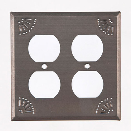 Blackened Tin Double Outlet Cover With Chisel Design