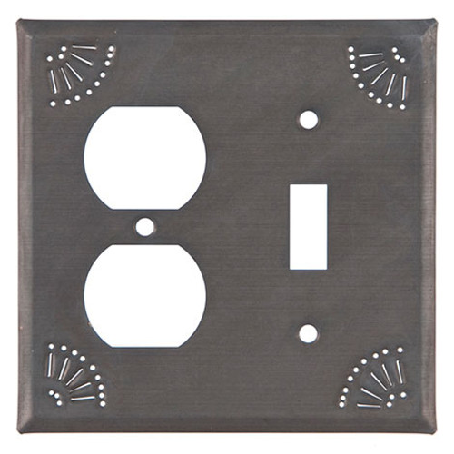 Blackened Tin Outlet and Switch Plate Cover With Chisel Design