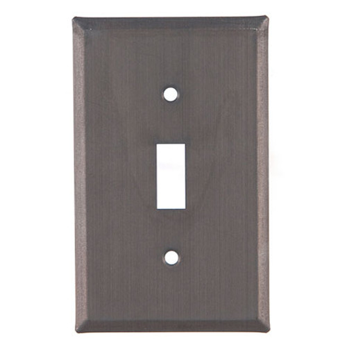 Blackened Tin Unpierced Single Switch Plate Cover