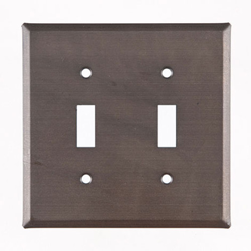 Blackened Tin Double Unpierced Switch Plate Cover