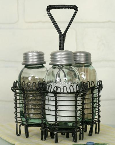 Spiral Wire Mason Jar Salt Pepper and Toothpick Caddy