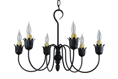 Farmhouse Chandelier Finished In Aged Black, Handcrafted In The USA by Katie's Handcrafted Lighting