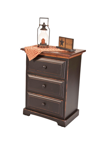 Amish Handcrafted 3 Drawer Night Stand by Vintage Creations By Sam - Finished In Antique 2-Tone Finish, Black With Harvest Stain