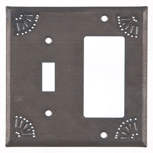 Blackened Tin Switch and Rocker Cover With Chisel Design