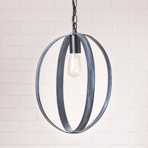 Oval Sphere Chandelier in Black - 16 Inch