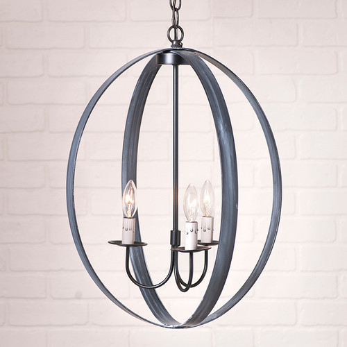 Oval Sphere Chandelier in Black - 20 Inch