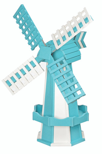 Amish Crafted Poly Windmill Medium Finished In Primary Color: Aruba Blue, Accent/Trim Color: White