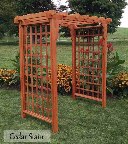 Amish Handcrafted Lexington Cedar Wood Arbor - Cedar Stain