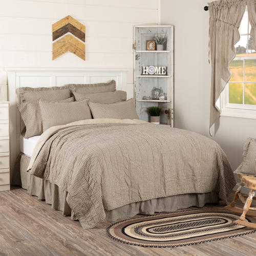 Sawyer Mill Charcoal Bedding Collection by VHC Brands - Ticking Stripe Quilt Coverlet