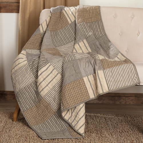 Sawyer Mill Charcoal Quilted Throw by VHC Brands