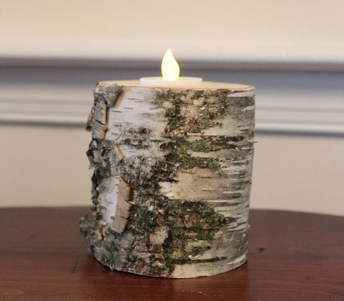 All Natural Birch Log Candle Holder With Tea Light