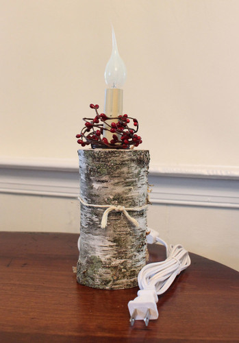 All Natural Electric Birch Log Farmhouse Candle Light - Red