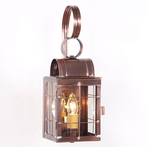 Irvin's Tinware Single Wall Outdoor Lantern With Cross Bars Finished In Antique Copper