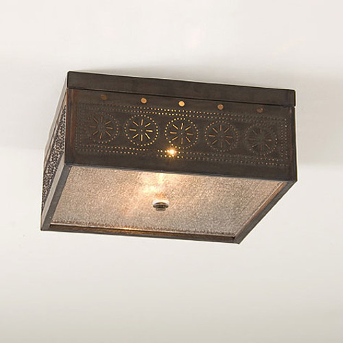Irvin's Square Ceiling Light With Chisel Design Finished In Blackened Tin