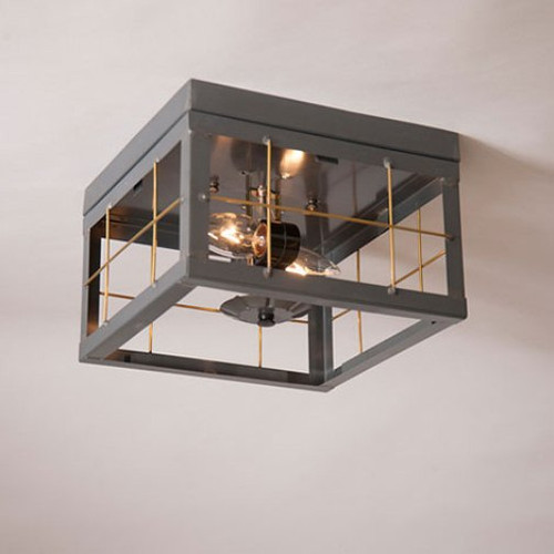 Irvin's Double Ceiling Light With Brass Bars Finished In Country Tin