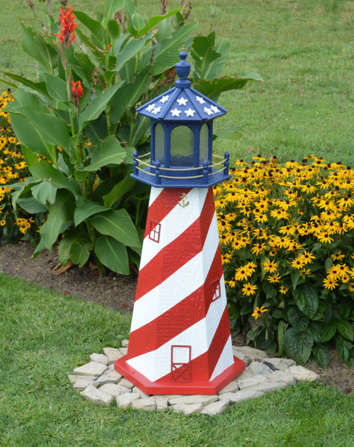 amish made patriotic model wood garden lighthouses - Garden Lighthouse