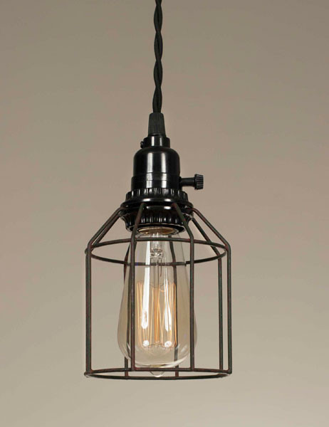 Wire Cage Pendant Light - Green-Rust