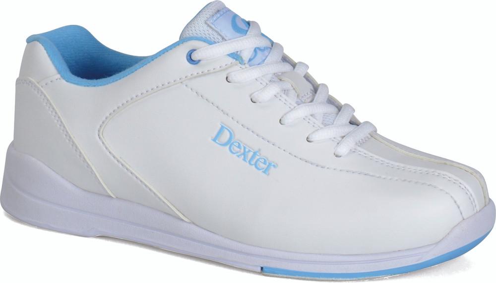 Dexter Raquel IV Jr Bowling Shoes White Blue Girls side view angle