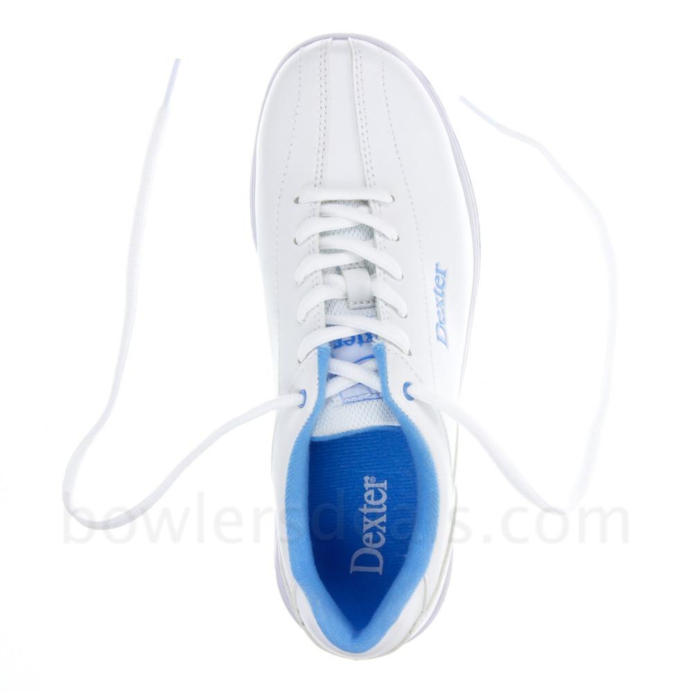 Dexter Raquel IV Jr Bowling Shoes White Blue Girls top view