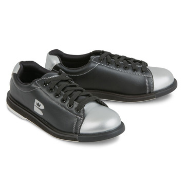 Brunswick TZone Bowling Shoes Black Silver angle view both shoes