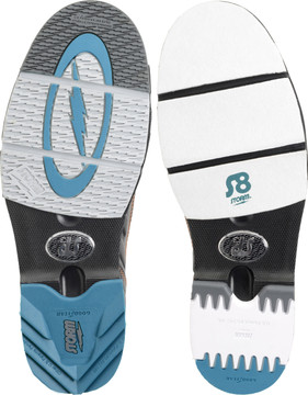 Soles and heels are interchangeable, it can also configure for left hand bowlers.