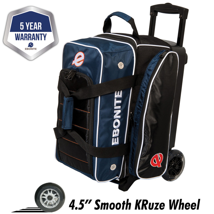 Ebonite Eclipse 2 Ball Double Roller Bowling Bag Navy