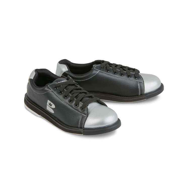 Brunswick TZone Youth Bowling Shoes Black Silver angle view both shoes