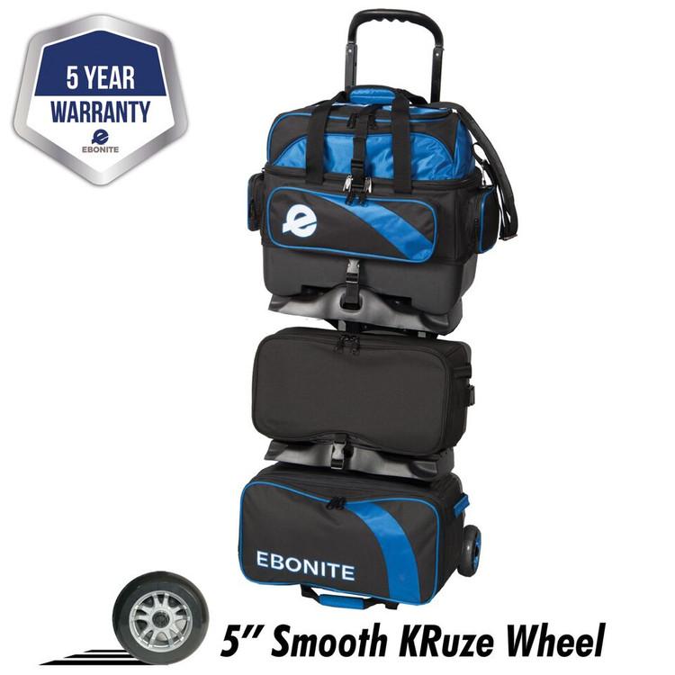Ebonite Equinox 6 Ball Roller Bowling Bag Black Blue
