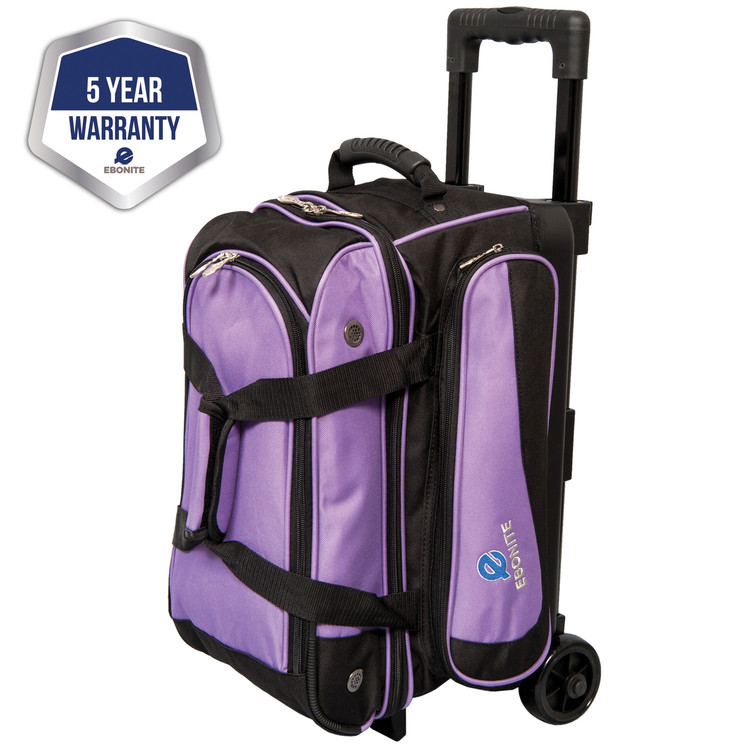 Ebonite Transport 2 Ball Double Roller Bowling Bag Purple