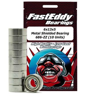6x13x5 Metal Shielded Bearing 686-ZZ (10 Units)