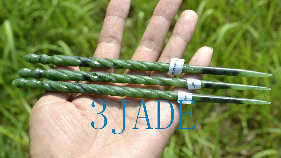 """7/"""" Green Nephrite jade Hair Stick //Hand Carved Twisted Hairpin Hair Accessory"""