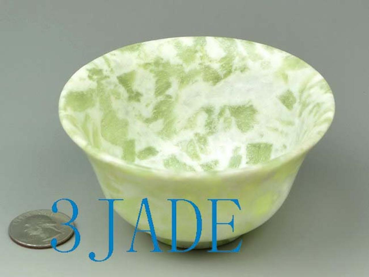 "3 7/8"" Hand Carved Natural Cloudy Xiu Jade / Serpentine Bowl / Cup -N011013"
