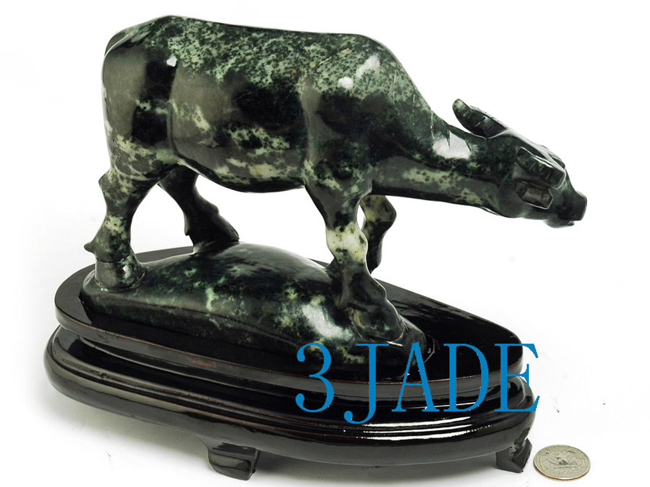 Natural Chinese Dushan Jade Stone Carving Cattle Statue /Sculpture -J003080