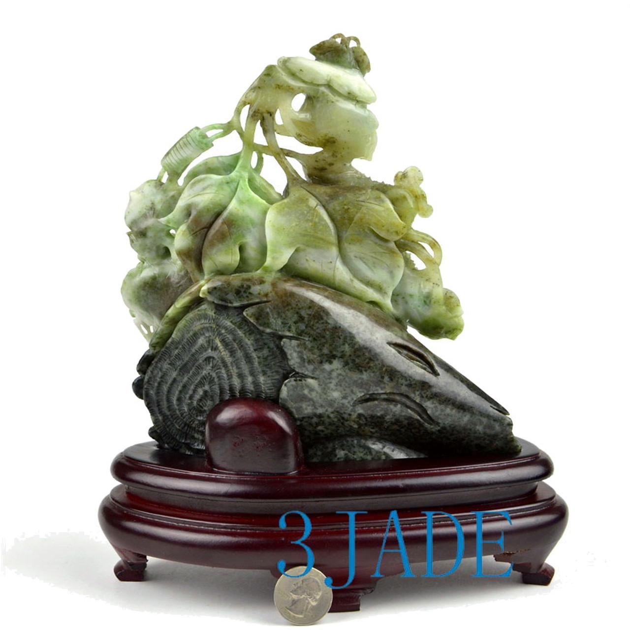 Natural Dushan Jade Plant Statue Sculpture Stone Cucumber Carving