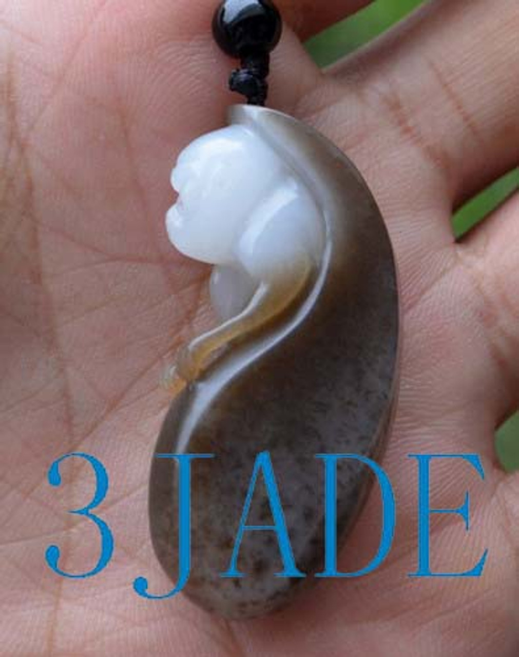 Natural hetian nephrite jade monkey pendant carving necklace w hetian jade monkey pendant aloadofball Images