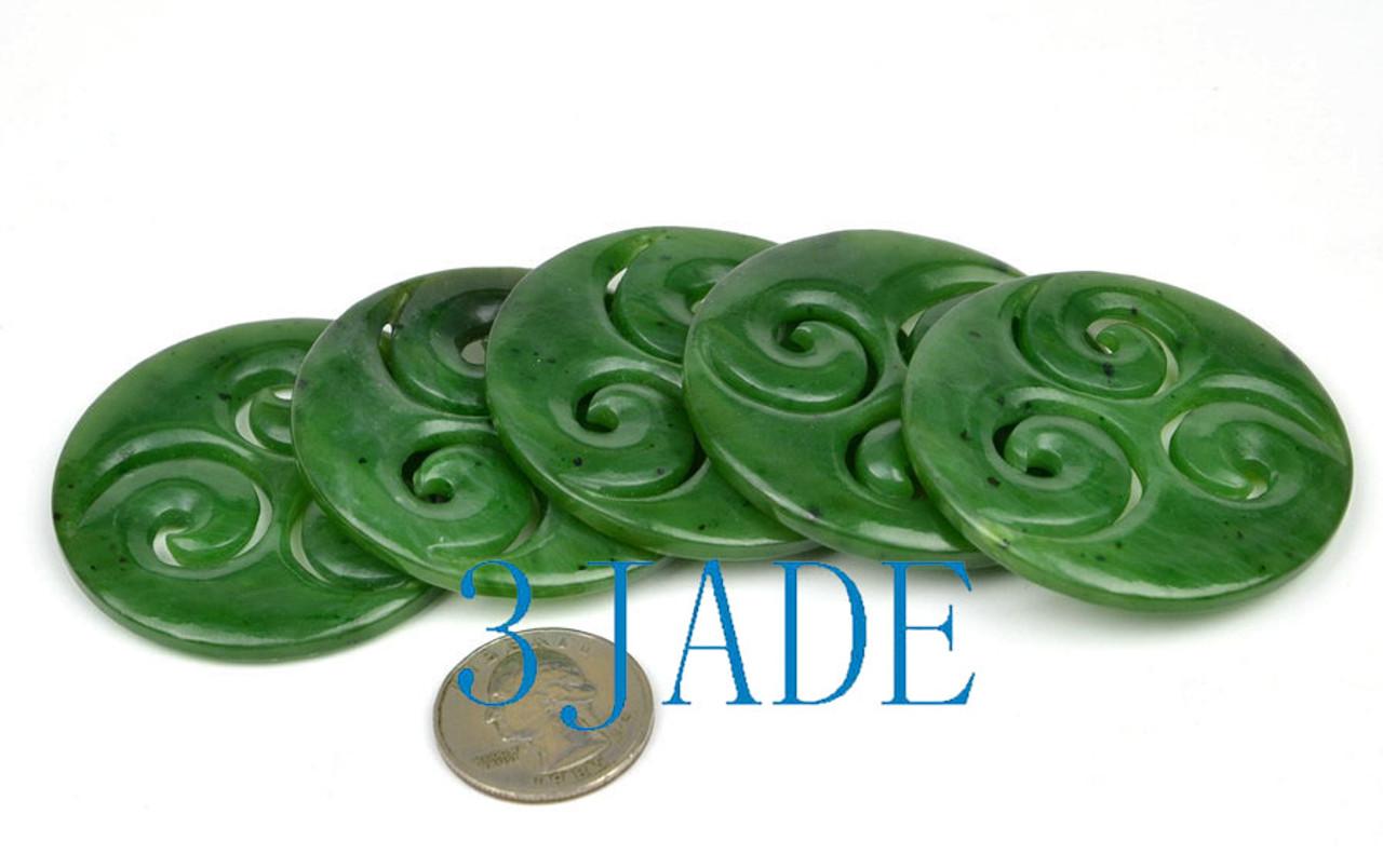 green jade triple swirl pendant