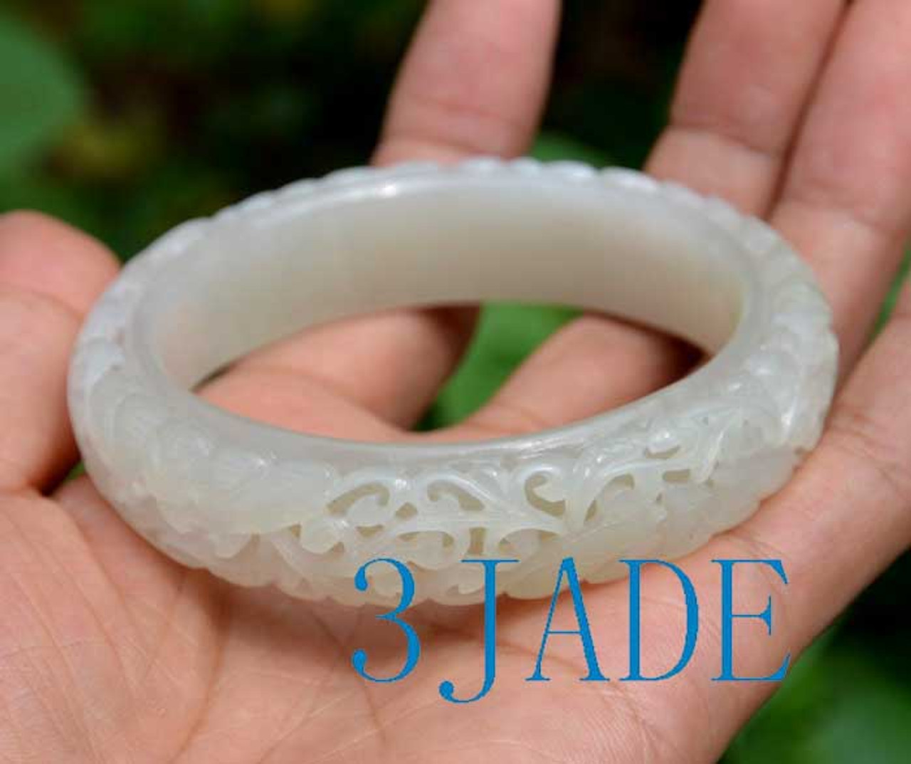 61mm carved white Hetian jade bangle