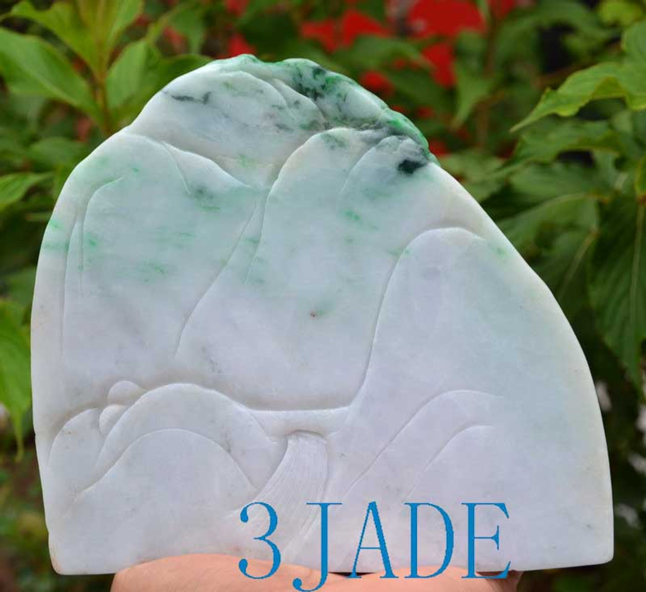 A Grade Jadeite Jade Chinese Mountain Scenery Carving Statue w/ certificate