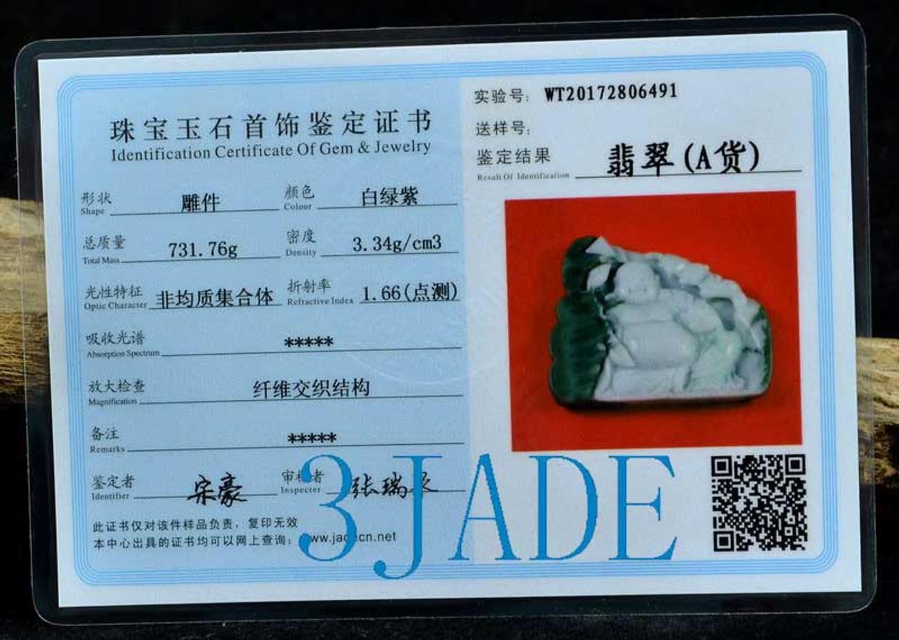 A Grade Burmese Jadeite Jade Maitreya Buddha Statue Sculpture Carving w/ Certificate