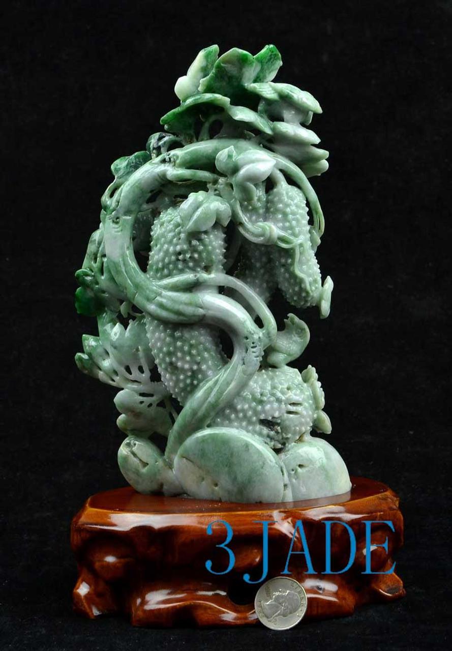 A Grade Burmese Jadeite Jade Cucumber and Flower Carving Statue 飞黄腾达 w/ certificate