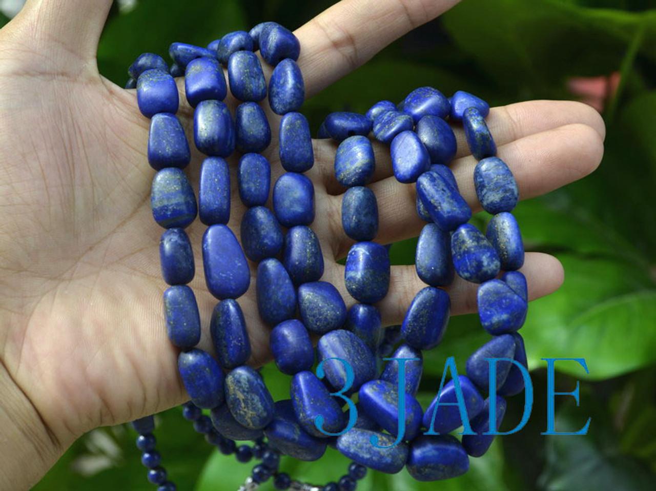 Selected Natural Lapis Lazuli Gemstone Nugget Beads Necklace